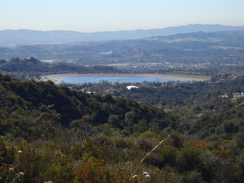 A small reservoir lake in Marshall Canyon, as seen from Claremont Hills Wilderness Park in Claremont, CA. Photo by Brian Altmeyer